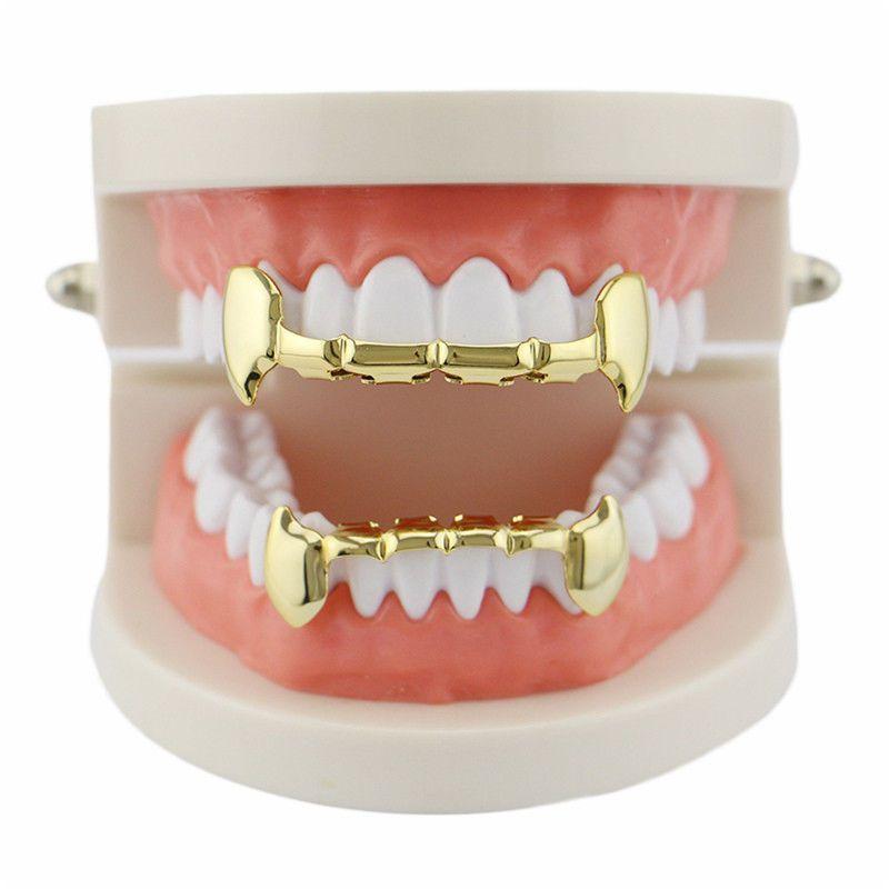 18k Gold Plated Hip Hop Fang 6 Teeth Grills Top /& Bottom Grill Teeth Cap