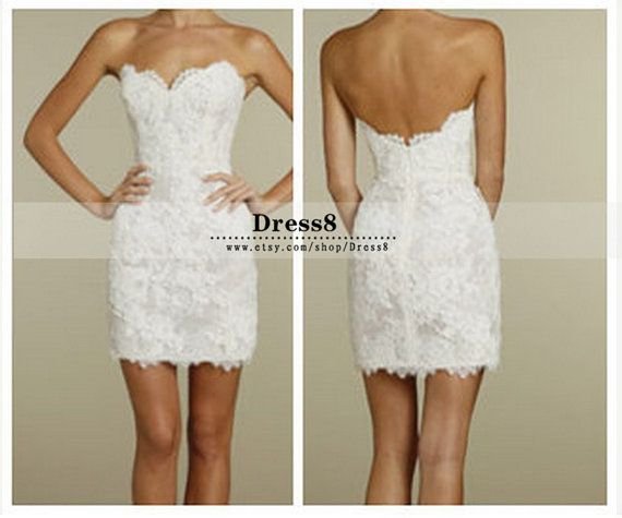 Short white lace reception dress/ wedding reception dress/ bridal ...