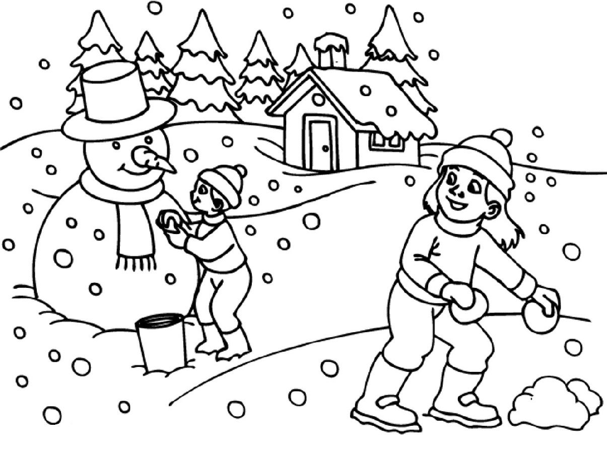 Winter Coloring Pages For Kids Worksheet