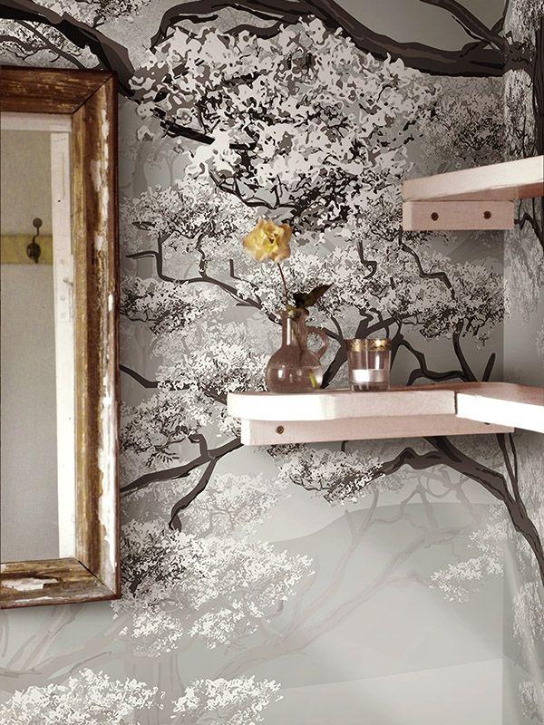 wald tapete im wc sch n in 2019 wald tapete tapeten und landschafts tapete. Black Bedroom Furniture Sets. Home Design Ideas