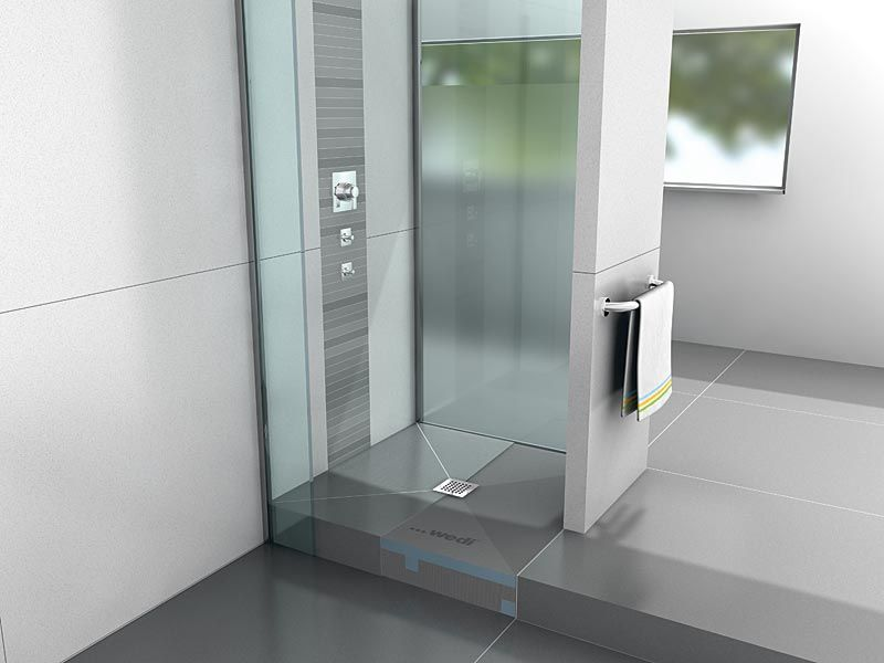 The Fundo Primo Shower Base Features A Square Drain And A Pre Sloped Surface Which Can Be Tiled Over Immediately W Large Format Tile Shower Base Shower Systems