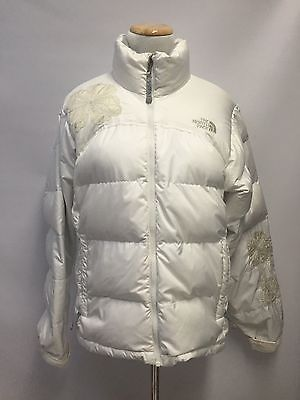 9a1c69bd504 North Face Women's White Jacket Coat Puffer Down Embroidered Flowers Size M