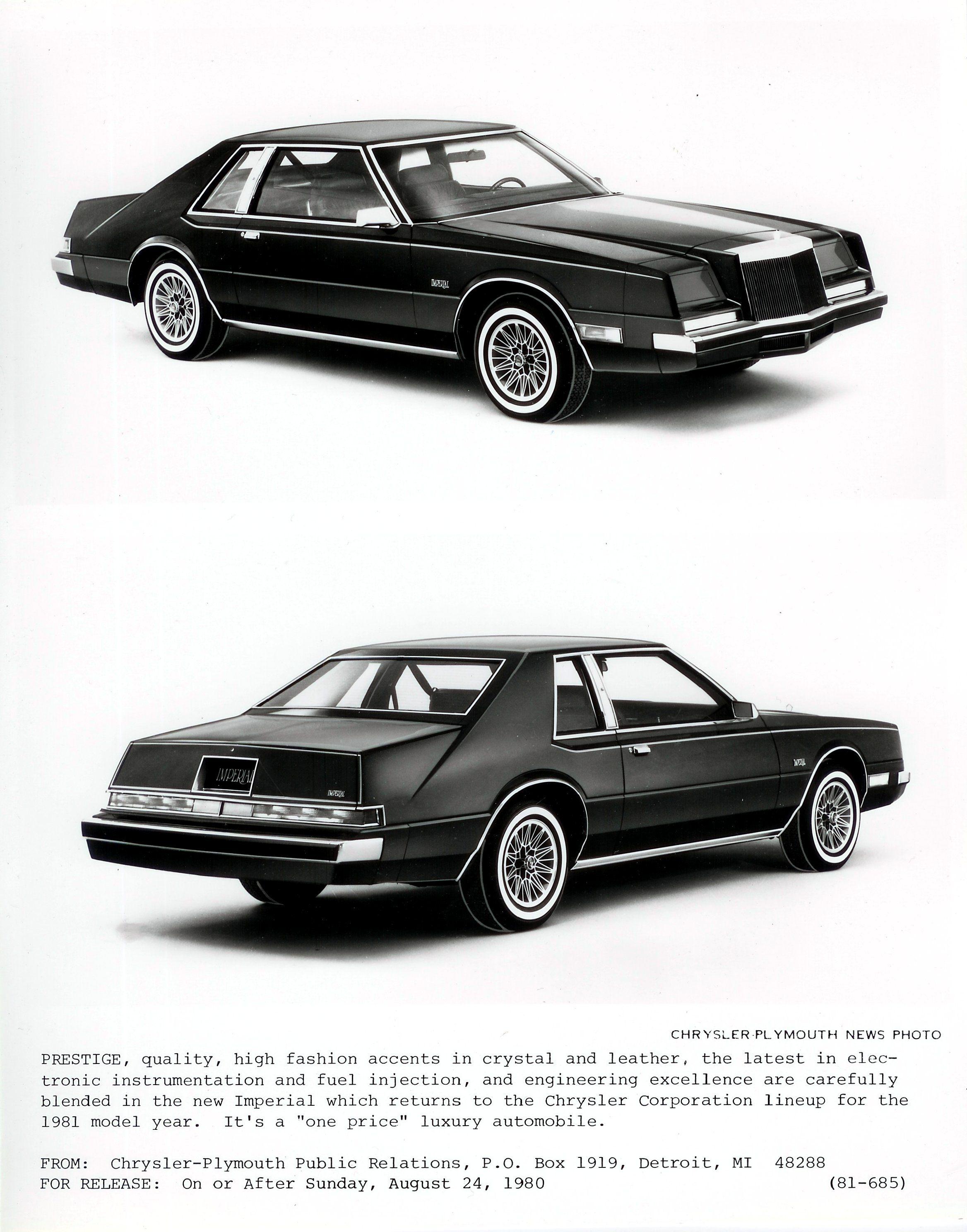 1982 Chrysler Imperial Press Release V2 Chrysler Cars Hot Rods Cars Muscle Chrysler Imperial
