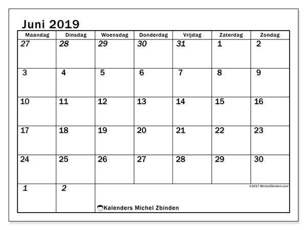 kalender juni 2019 66mz maandkalenders afdrukbare kalenders en kalender