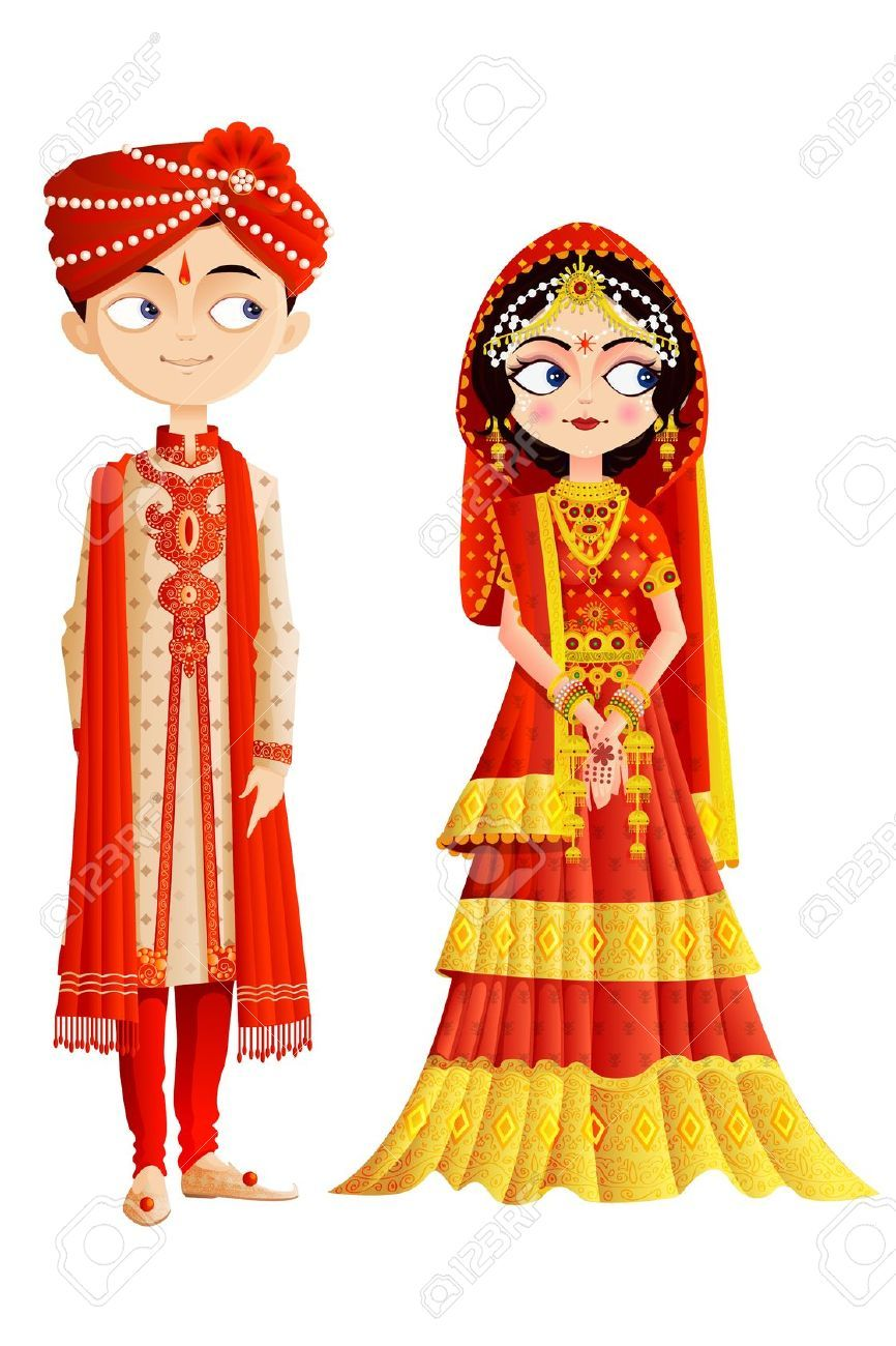 19313336-Indian-Wedding-Couple-Stock-Vector.jpg (866×1300) | Kına ...