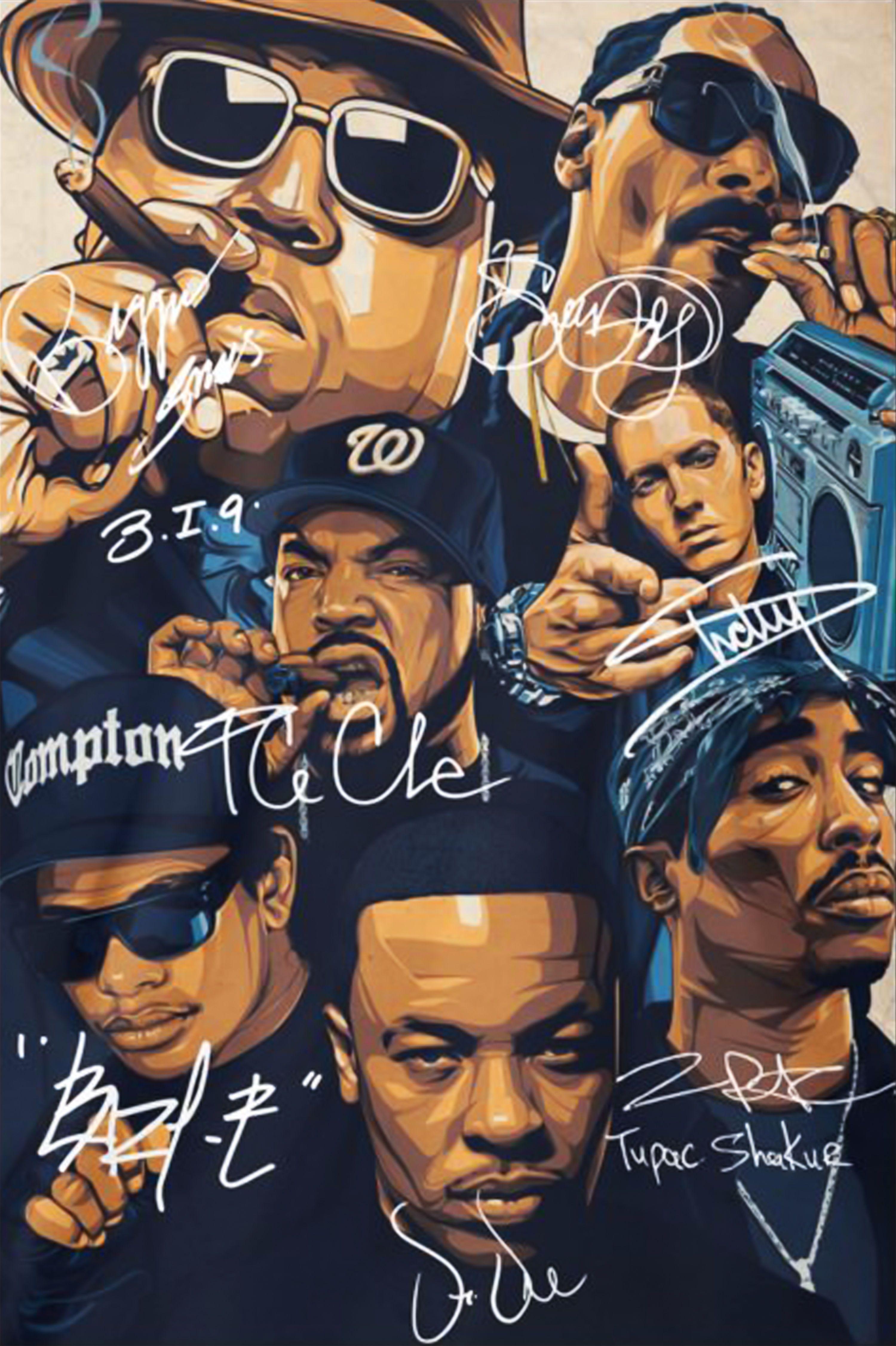 Great Rap Legends Notorious Big Snoop Dogg Ice Cube Eminem Tupac Signature Poster Tupac Art Hip Hop Poster Hip Hop Artwork