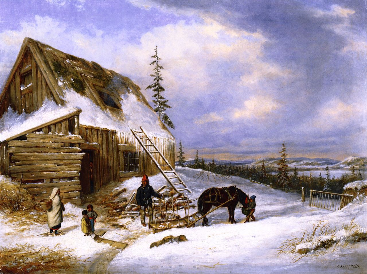 Cornelius krieghoff log cabin winter scene lake st for Log cabin painting