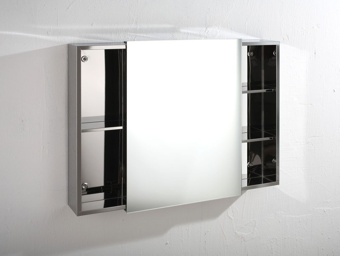 Bathroom mirror cabinet - 80cm Wide By 60cm Tall Nimes Sliding Door Mirror Bathroom Wall Cabinet