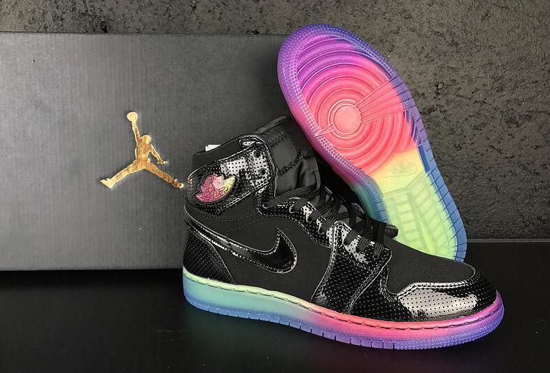 2017 Air Jordan 1 High GS Rainbow Sole Shoes