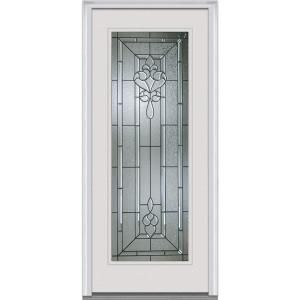 Milliken Millwork 34 In. Fontainebleau Decorative Glass Full Lite Primed  White Majestic Steel Prehung Front Door At The Home Depot   Mobile