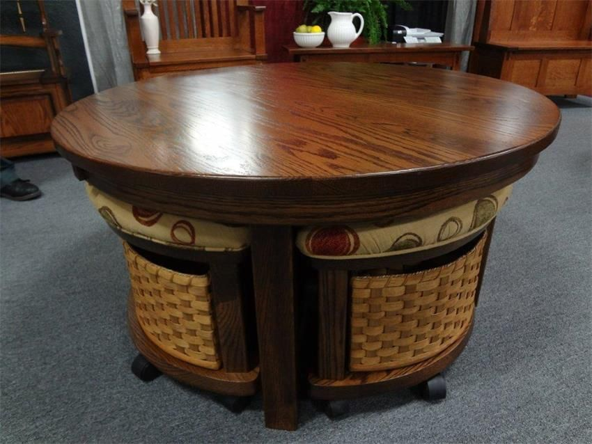 Amish Mission Round Coffee Table And Stool Set I Think Might Like This One Better Than The Last Pinned
