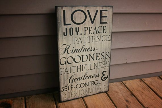 Love, Joy, Peace Rustic Wood Sign, Custom Handmade Decor, Inspirational Wood Wall Quote on Etsy, $40.00