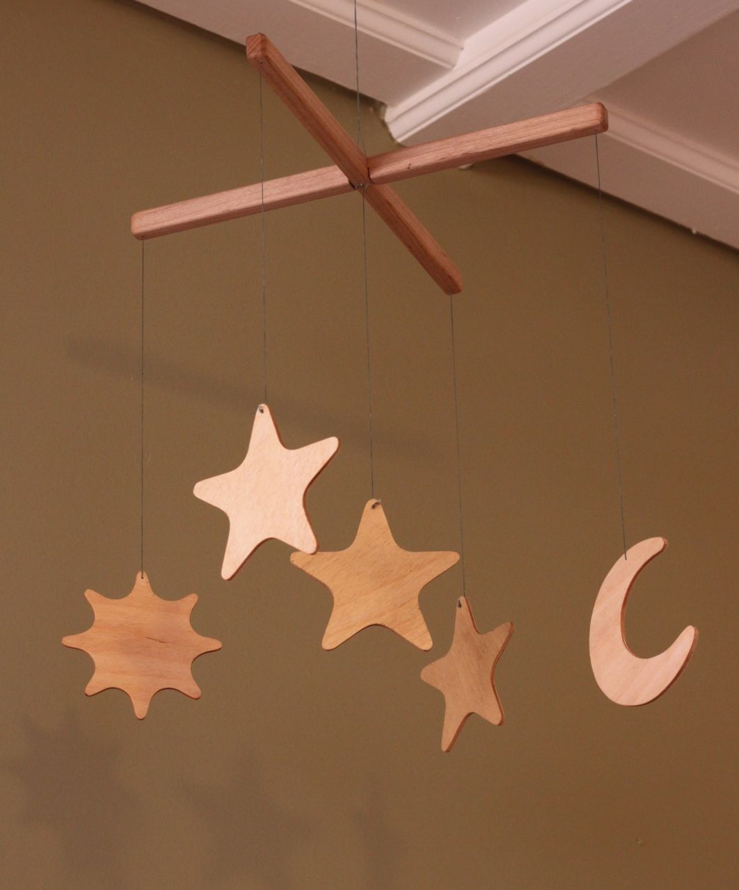 sun moon and stars wooden mobile for baby 39 s nursery karisa 39 s baby shower sun moon moon stars. Black Bedroom Furniture Sets. Home Design Ideas