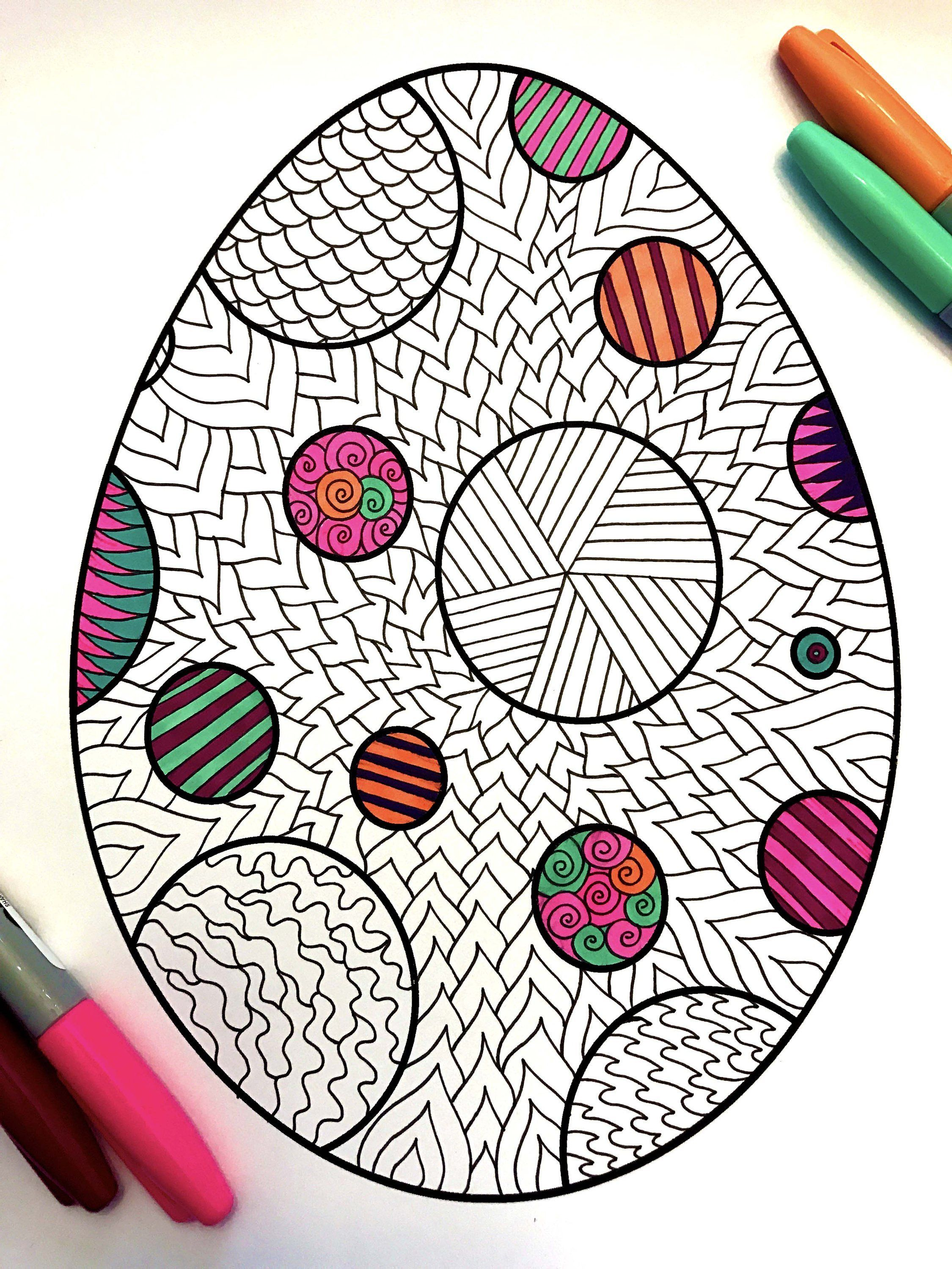 Polka Dot Easter Egg PDF Zentangle Coloring Page