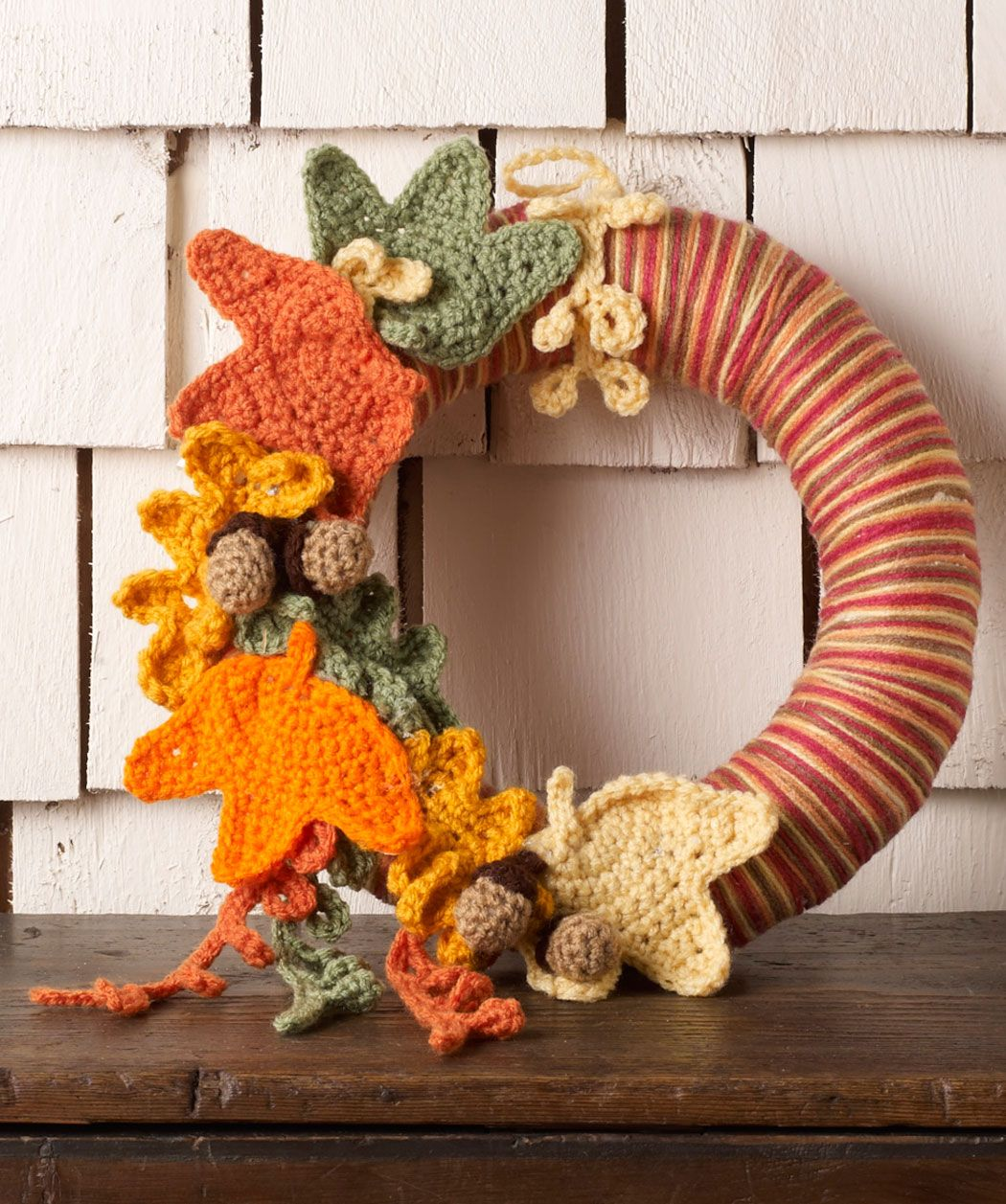 Autumn leaves wreath free crochet pattern from red heart yarns autumn leaves wreath free crochet pattern from red heart yarns bankloansurffo Image collections