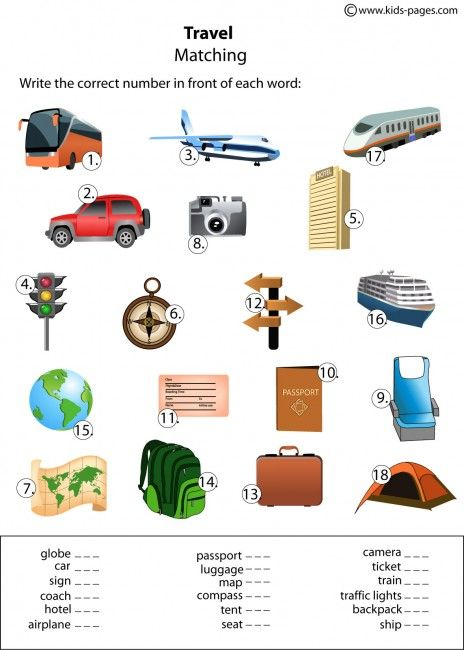 Travel Matching Worksheet Learning English For Kids English Vocabulary Matching Worksheet Travel worksheets for kindergarten