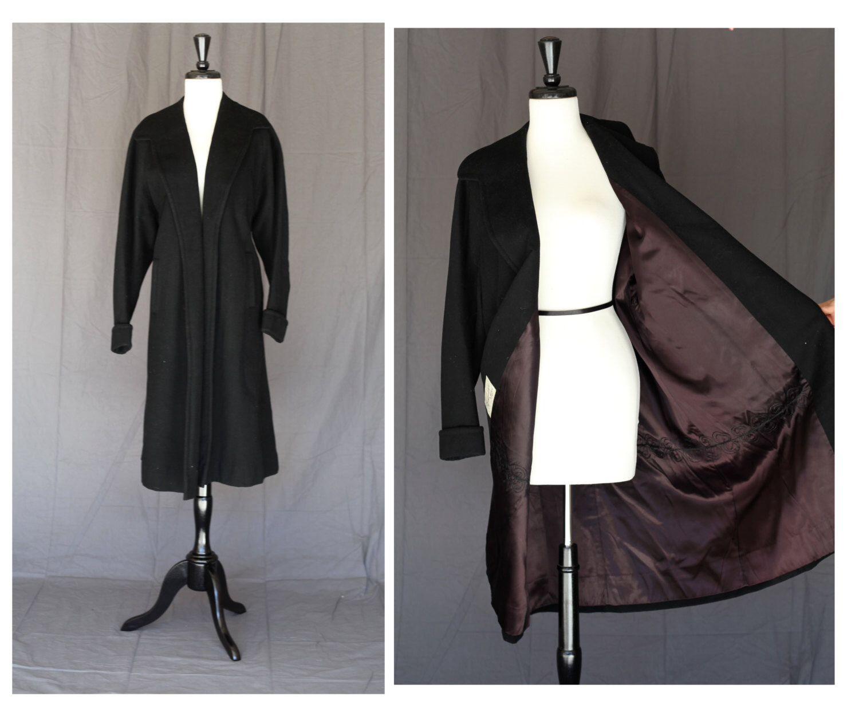 Stunning vintage new look black wool swing coat oklahoma city