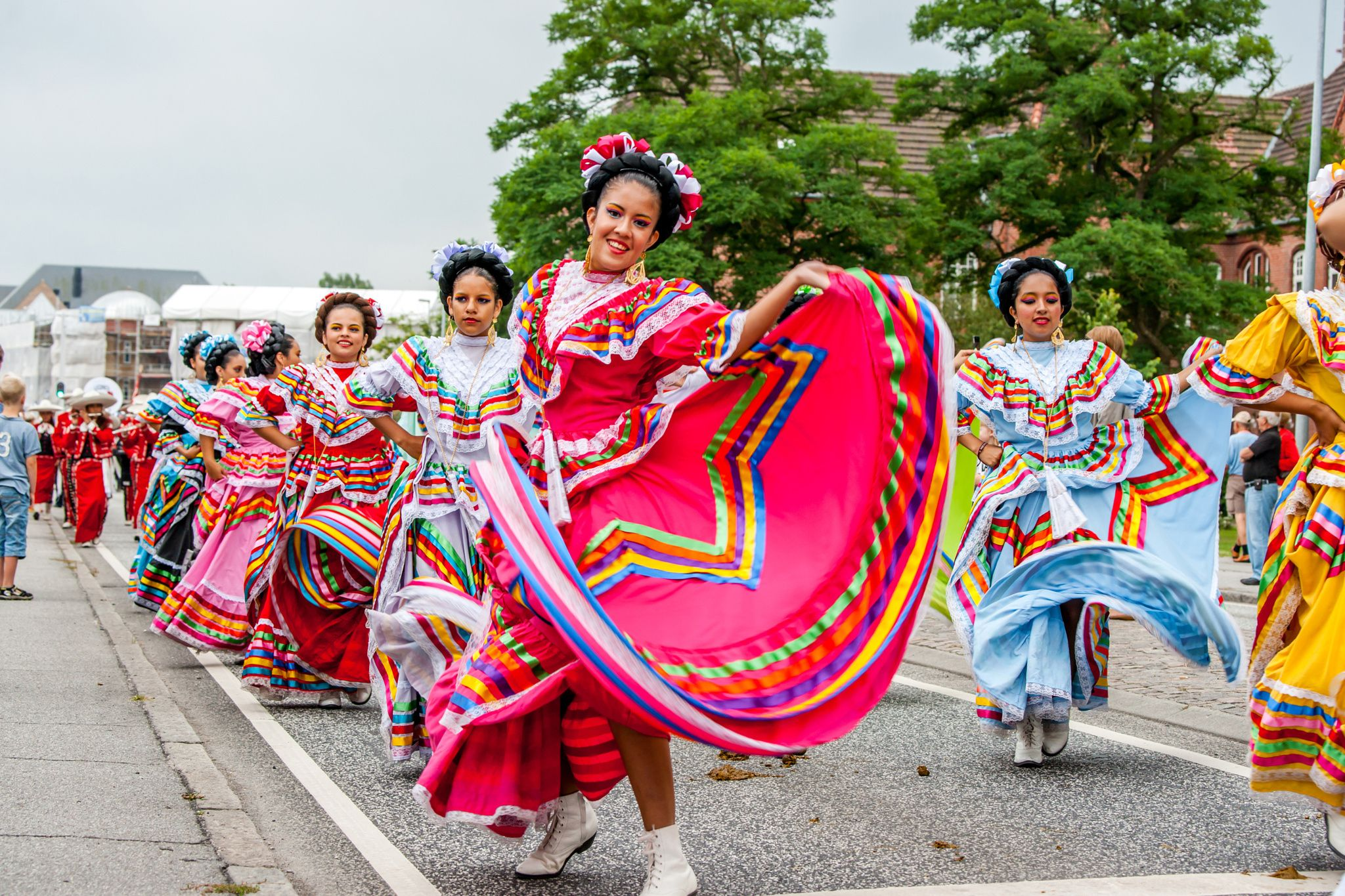 Mexican dance group in colorful dresses