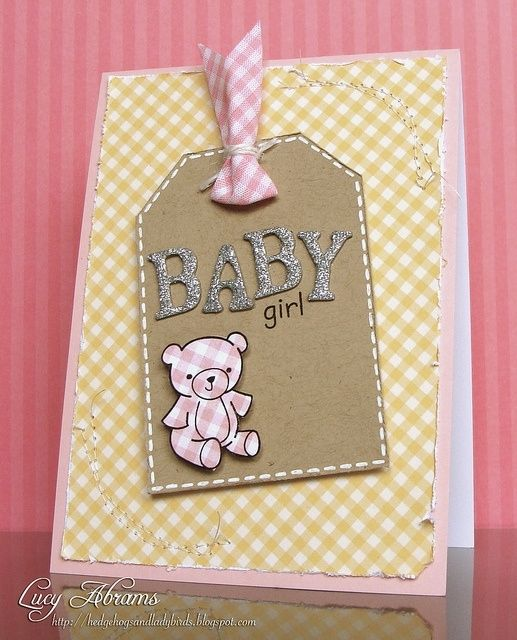 Gingham Bear baby card with a sweet stamp from Lawn Fawn's adorable Pa-Rum-Pa-Pum-Pum Christmas stamps.  Change the bear color and it could be used for a boy (or use yellow or green to be neutral)!  Cute! by keisha