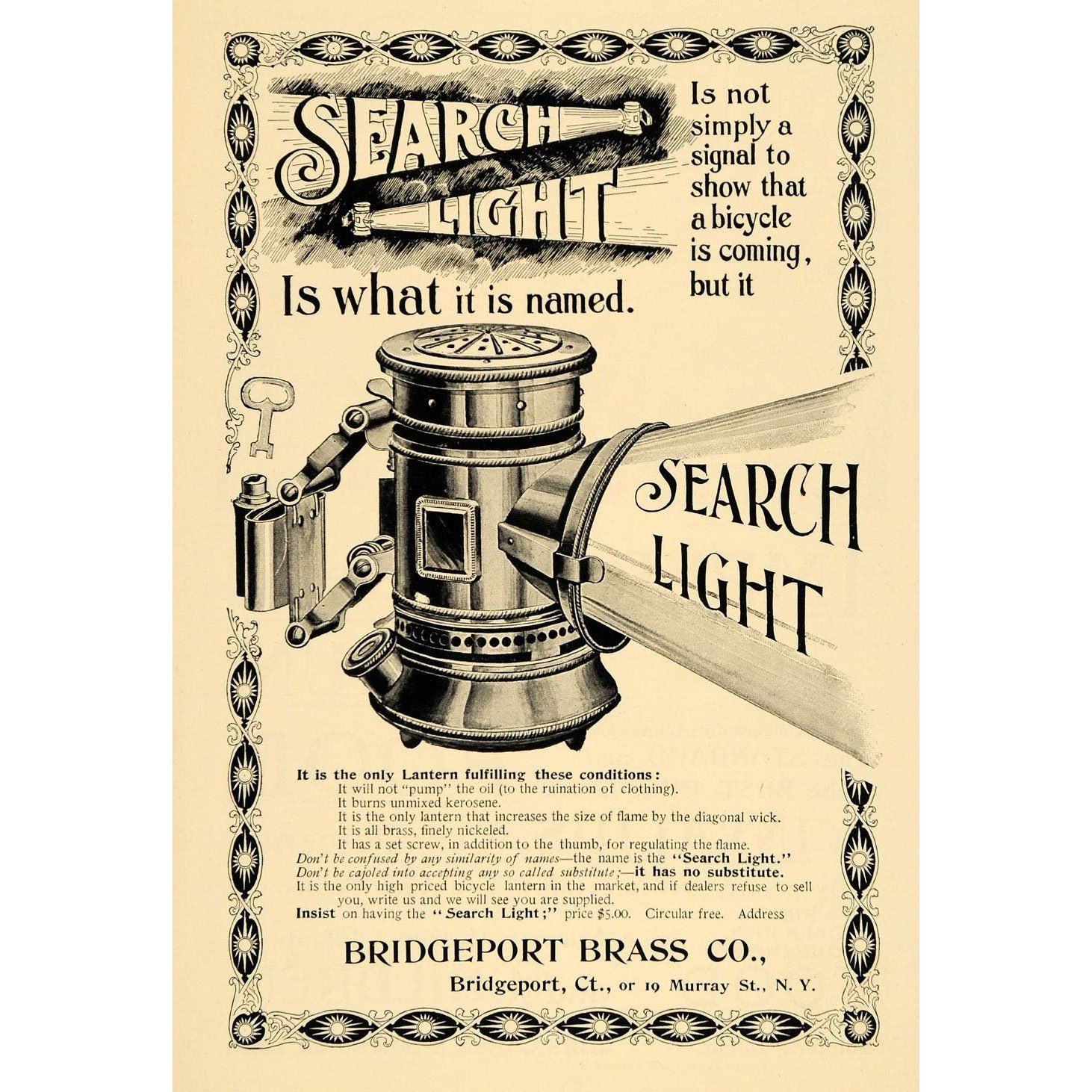 Searchlight Bicycle Oil Lamps – Bridgeport Brass Company