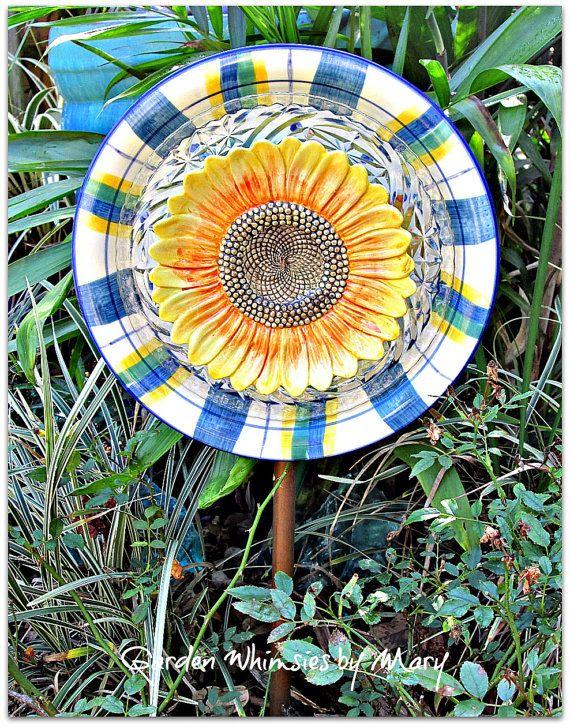Sunflower Plate Flower Garden Stake As By GardenWhimsiesByMary, $35.00