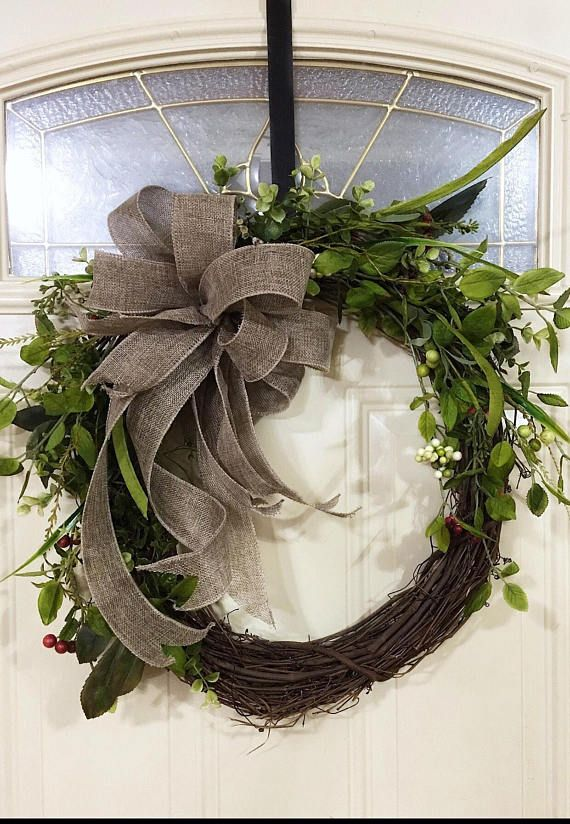 Rustic Greenery Wreaths, Spring Greenery Wreaths, Year Round Door Wreaths,  Everyday Greenery Wreaths, Natural Greenery Wreaths, Farmhouse **Base Wreath  Is ...