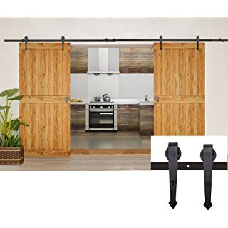 Coocheer Modern Rustic Barn Wood Steel Double Sliding Door Hardware Closet Set 12 Feet Black Home Closet Hardware Barn Doors Sliding