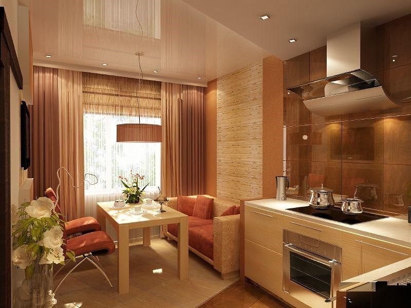 дизайн кухни гостиной 17 квм фото с зонированием 1