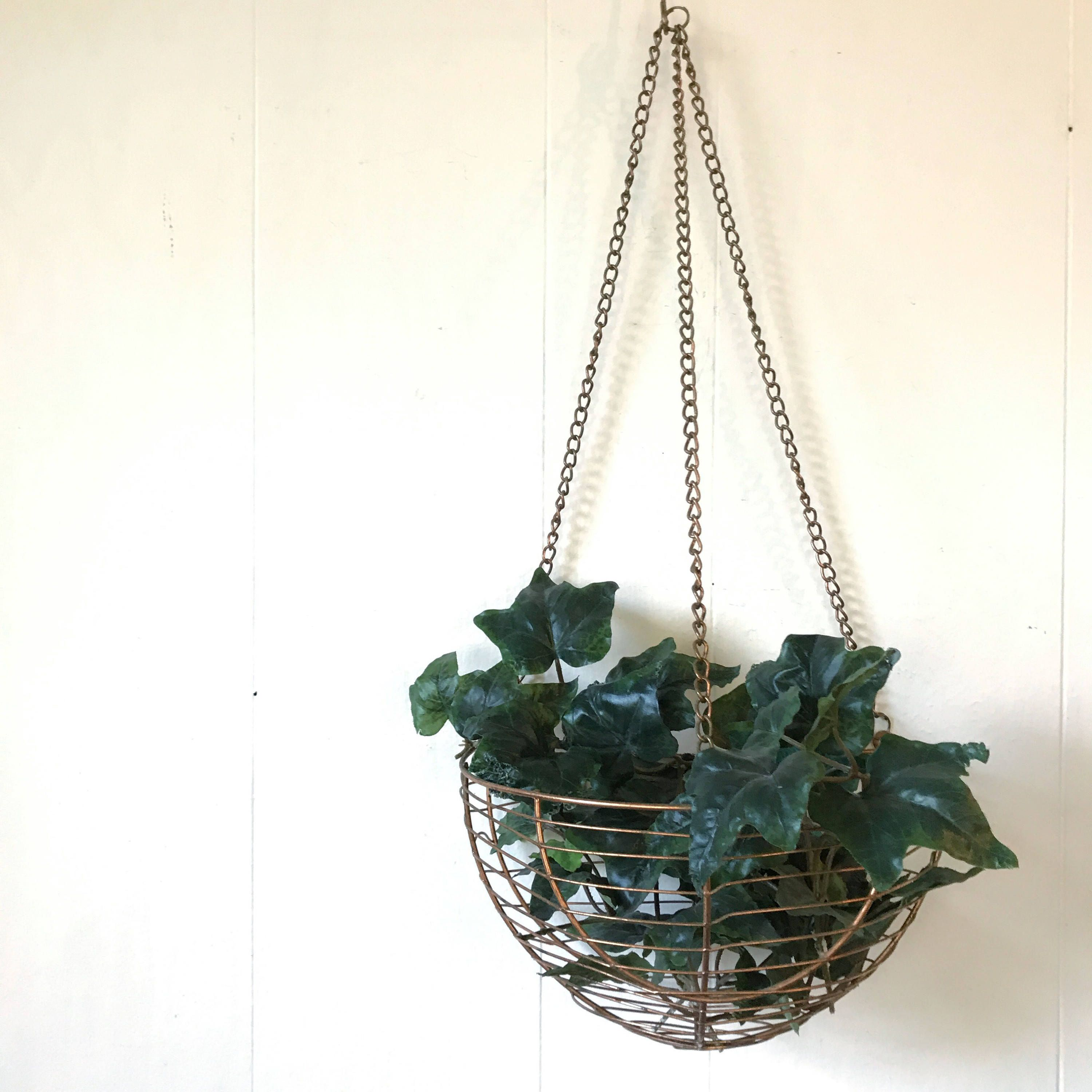 hanging basket planter - copper wire half basket - outdoor decor ...