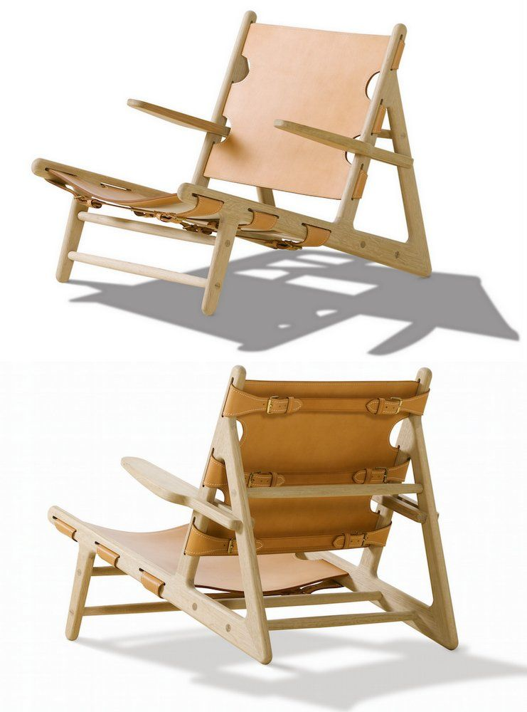"""Børge Mogensen´s  'Hunting Chair'. Designed in 1950 for the exhibition of the Copenhagen Cabinetmaker´s Guild whose theme that year was """"The Hunting Lodge""""."""