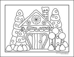 Christmas Coloring Sheets Gingerbread House 01