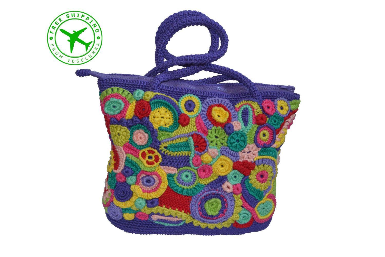 Crochet Bag With A Fl Pattern Prague Freeform от Veselunka