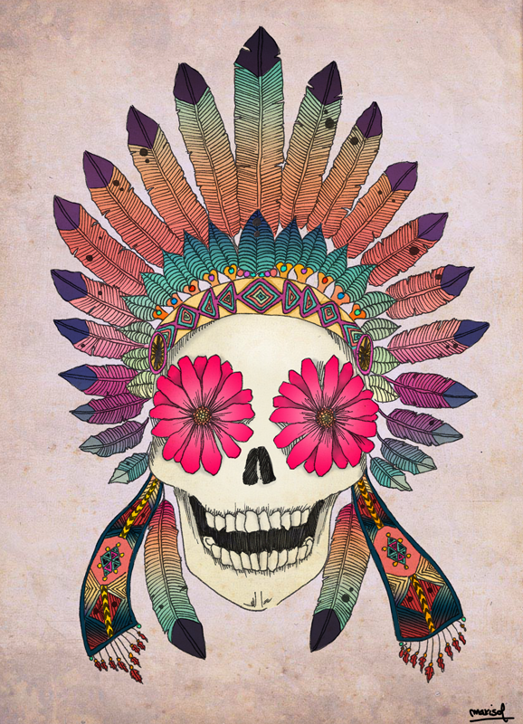 Calavera Con Flores Y Plumas Skull With Flower And Feathers Si Te