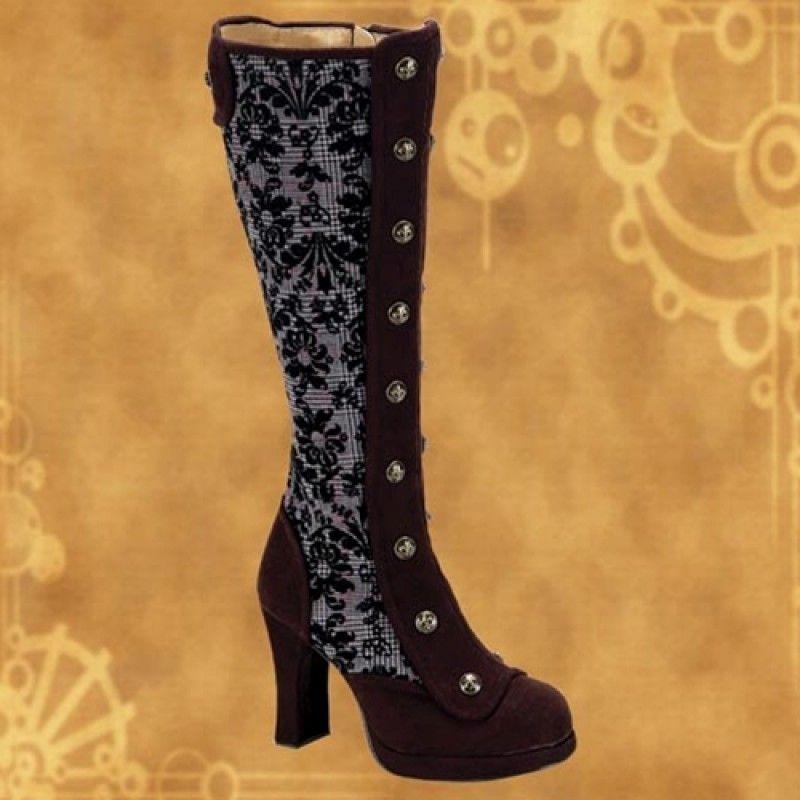 Crypto Brown Tweed Steampunk Platform Boots