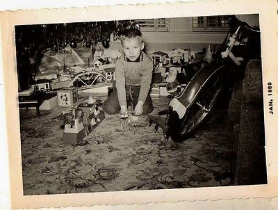 Vintage Antique Photograph Little Boy With Tons of Toys At Christmas Time 1959