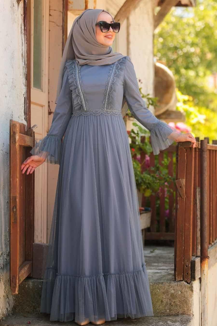 Tesetturlu Abiye Elbise Boncuk Detayli Gri Tesettur Abiye Elbise 38980gr Tesetturisland Com Elbise Moda Stilleri The Dress