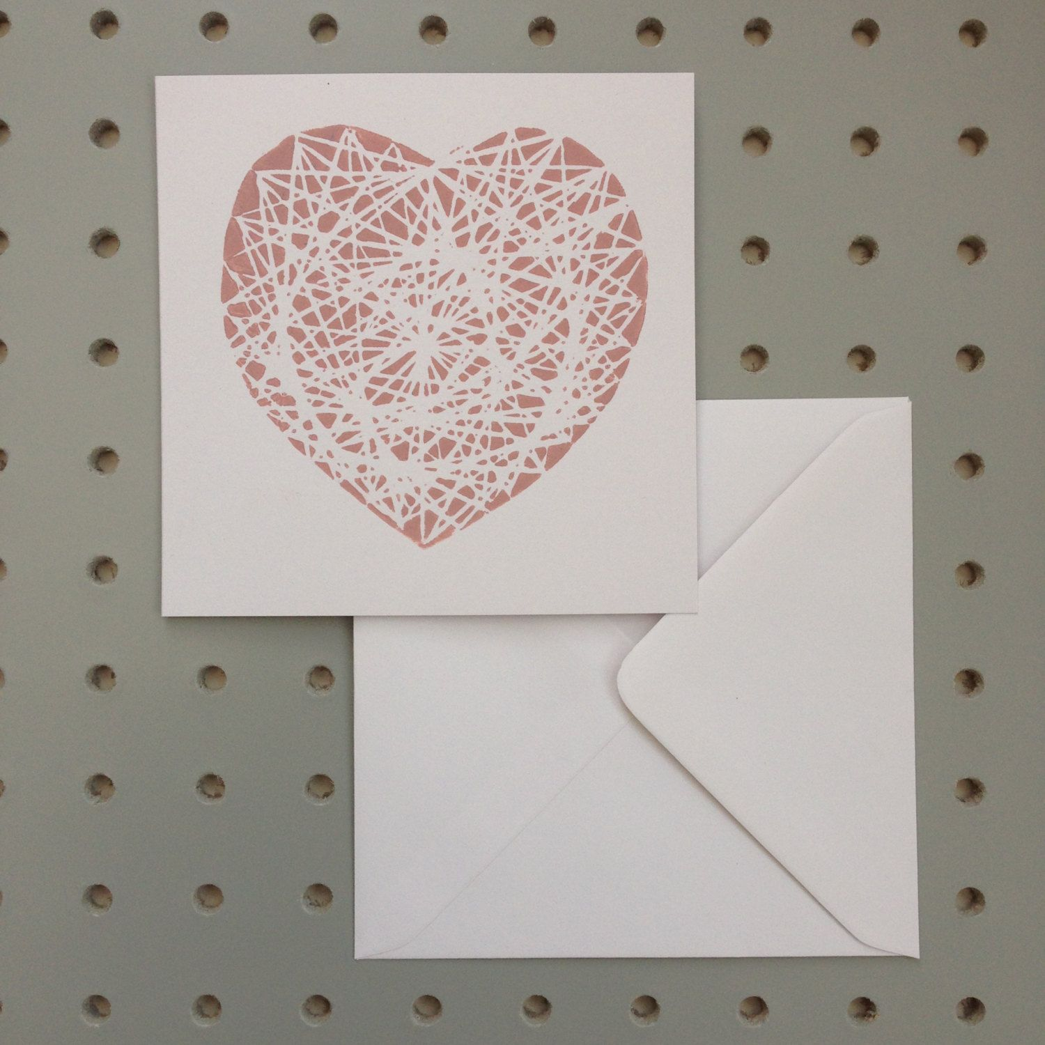 Complicated Heart. Linear Style. Hand Printed Linocut Greetings Card. by HollyBowerMakes on Etsy