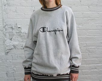 Champion reverse weave sweatshirt / vintage embroidered heather ...