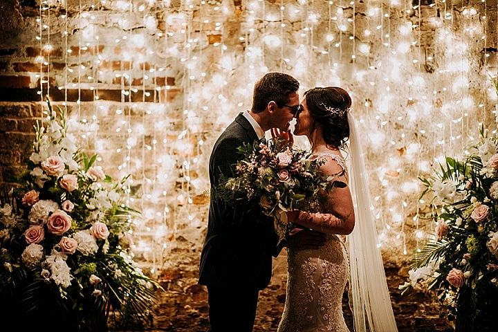 Annie and James nbsp Rustic Charm York Barn Wedding with Fairy Lights and Vintage Accents by M and G Photographic #barnweddings