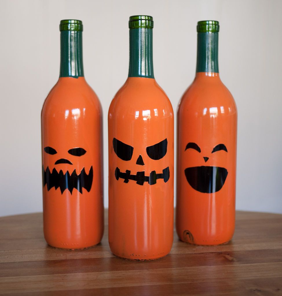 Halloween Drinking Wine Bottle Jack O Lanterns Turn Regular Cheap Wine Bottles Into Some Funky Ha Halloween Wine Bottles Halloween Wine Reuse Wine Bottles