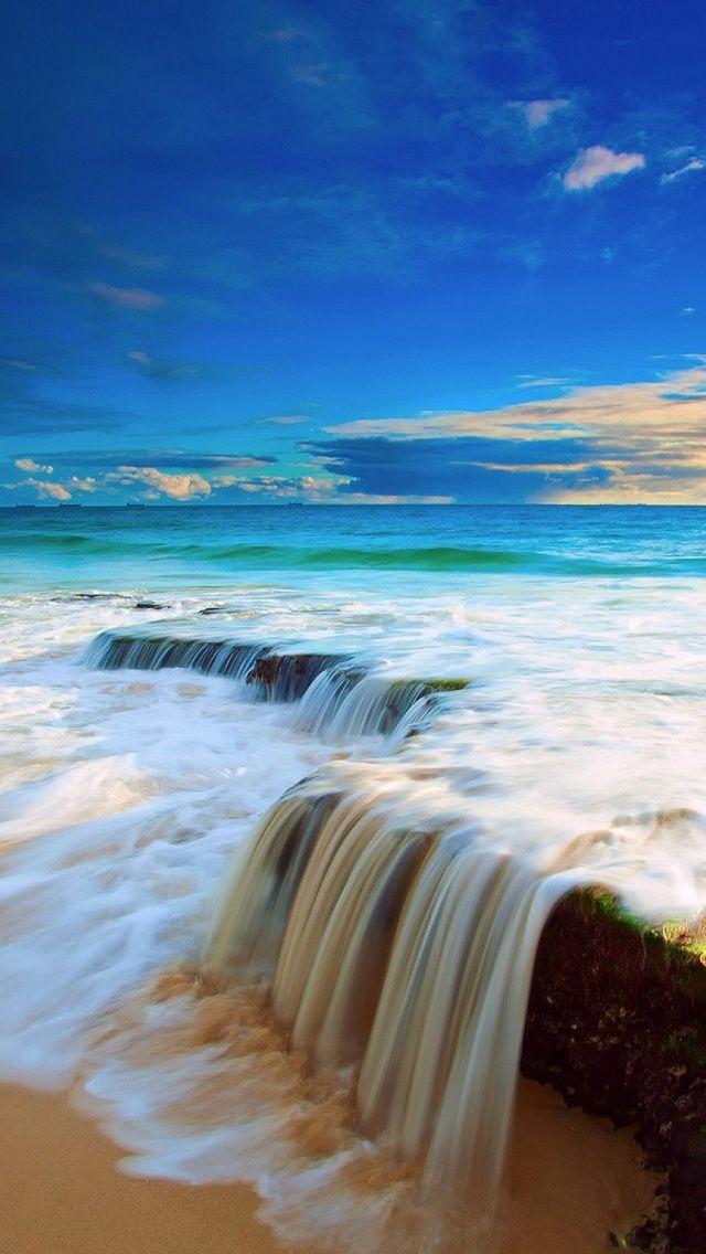 Tropical beach water rocks iPhone 5 wallpaper
