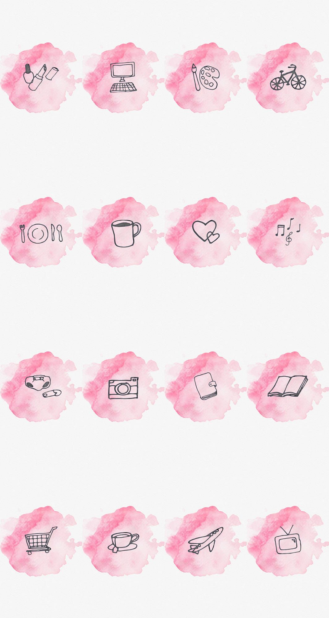 Instagram Story Highlight Cover Set Of 16 Pink Watercolor Bookstagram Lifestyle Bloggers Pink Instagram Instagram Logo Instagram Highlight Icons