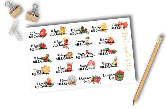 Planner//Diary//Scrapbooking Stickers Hand Drawn Christmas Coundown GlossyPaper