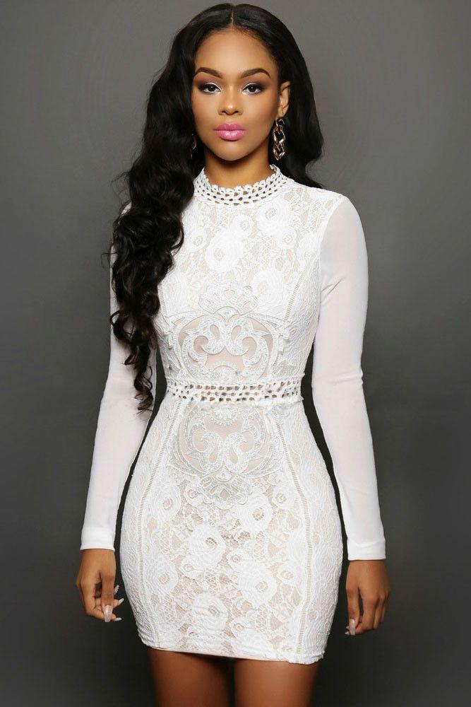 9d1c06ed50 vestido femininos women new 2016 spring fashion casual dress Sexy White black  Lace Mesh Sleeves Mini Dress LC22576