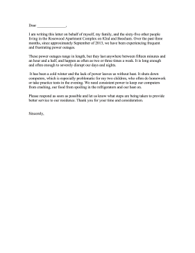 This Power Outage Complaint Letter Can Be Aimed At An Electric