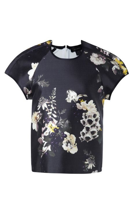Aberdeen Floral-Print Cotton-Silk Twill Top by Ellery