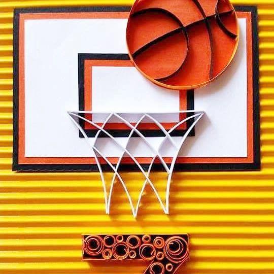 Basket Ball D 39 Anniversaire Joyeux Anniversaire Carte De Card Art Bday Cards Quilling Cards