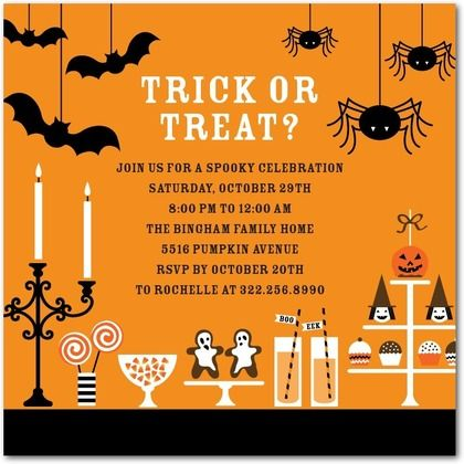 Scary Sweets Halloween Party Invitations In Pumpkin Petite
