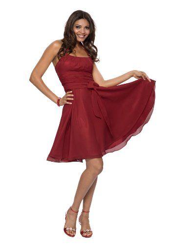 Elegantes knielanges Neckholder Cocktailkleid, Farbe rot, Gr.32 von ...