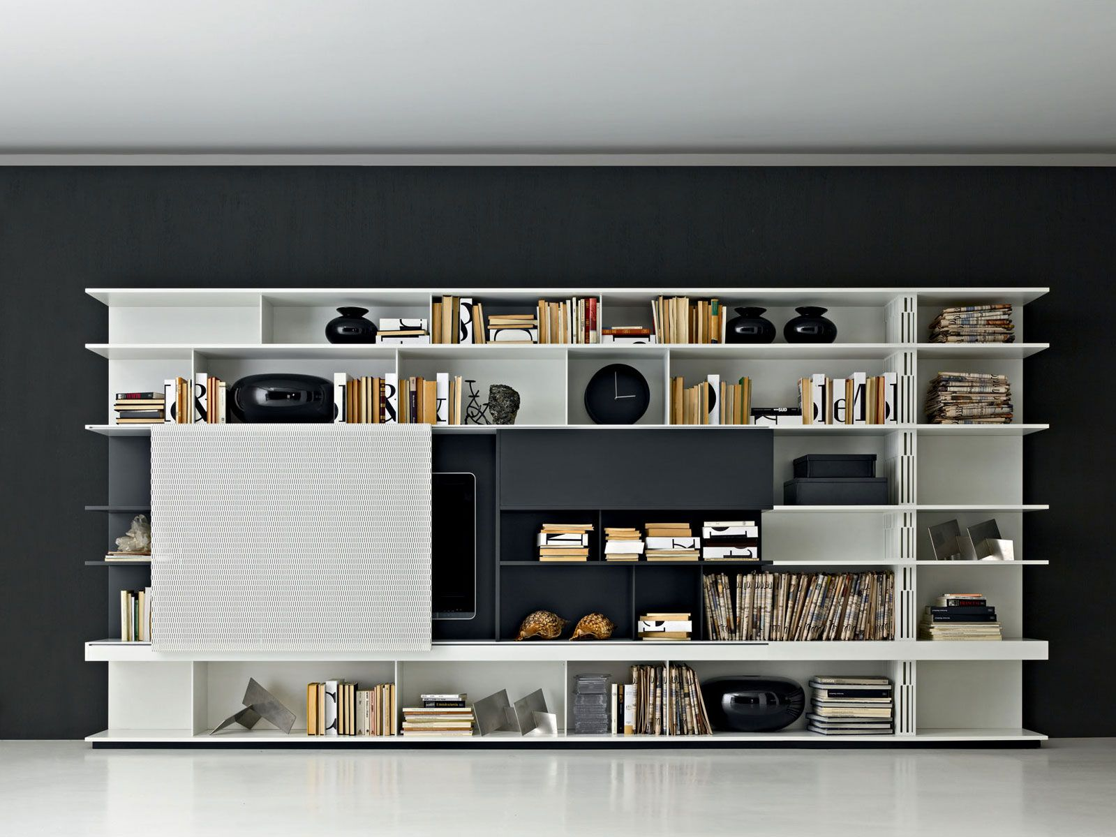 Biblioth Que Ouverte Composable Avec Support Tv Sequence By Molteni